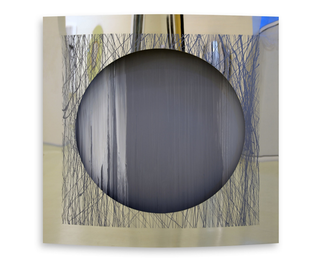 Grey and White, 2014  Enamel on chrome-plated metal  120x120cm