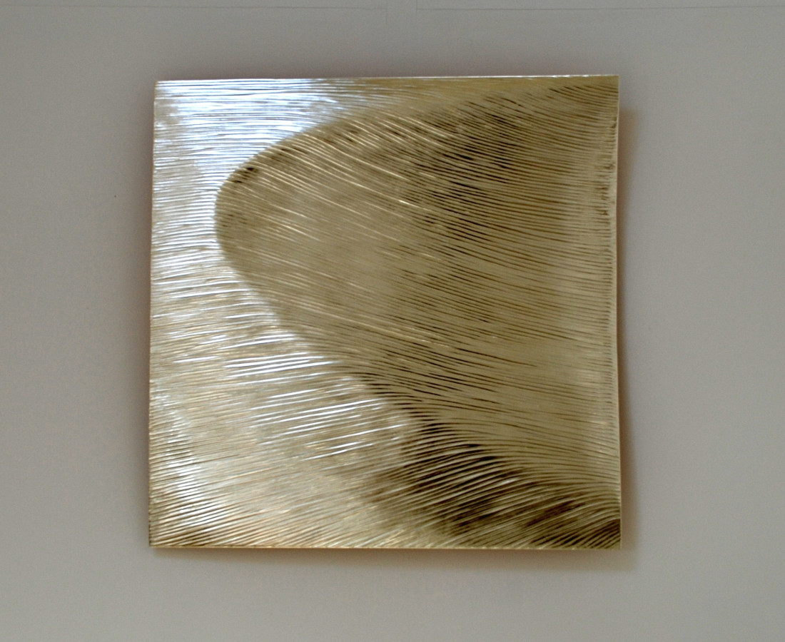 Arc, 80 cm square, 12 ct white gold on carved wood