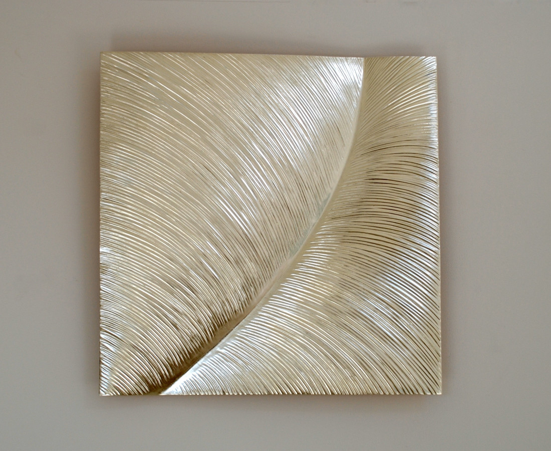 Leaf , 12 ct white gold on carved wood , 80 cm square