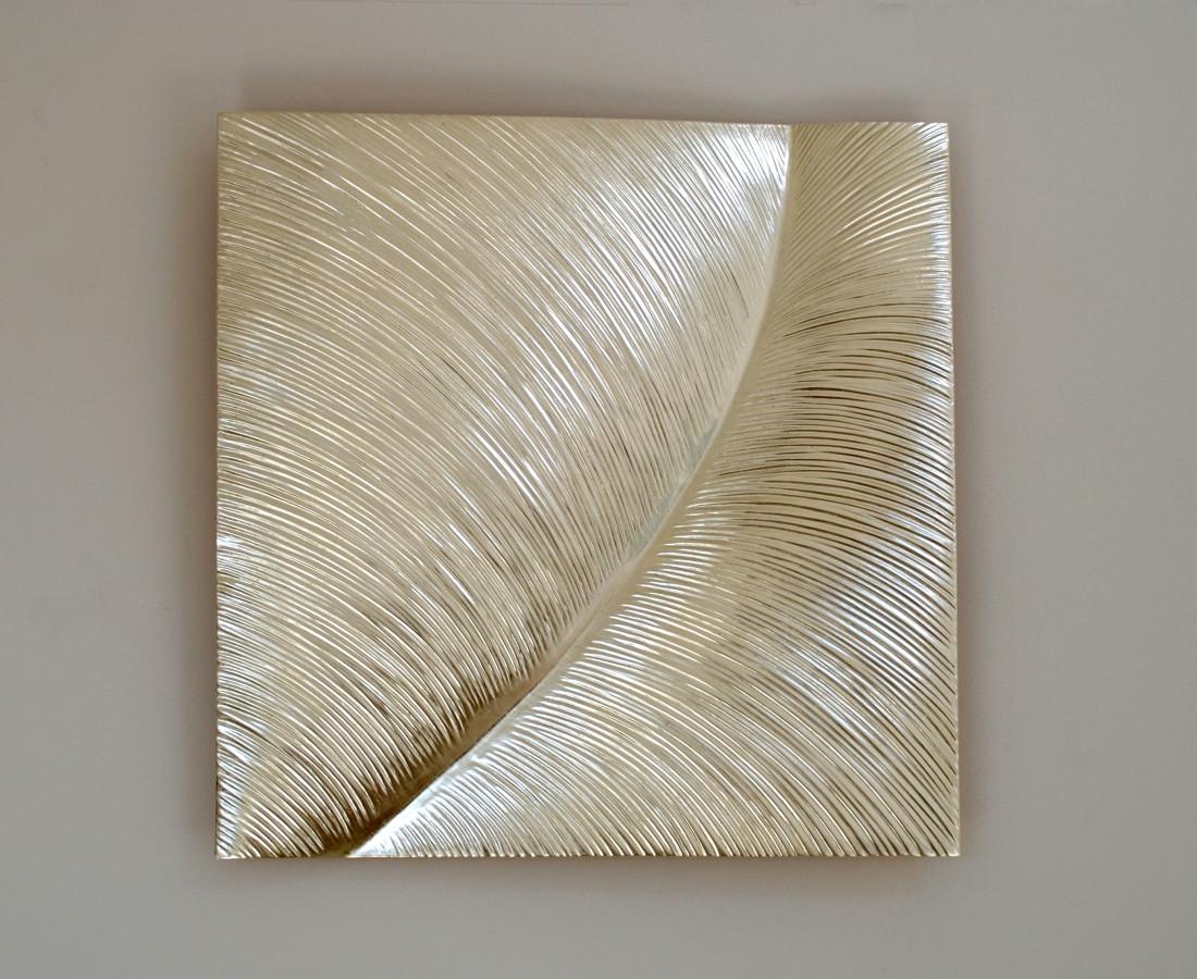 Leaf , 12 ct white gold on carved wood , 80 cm square