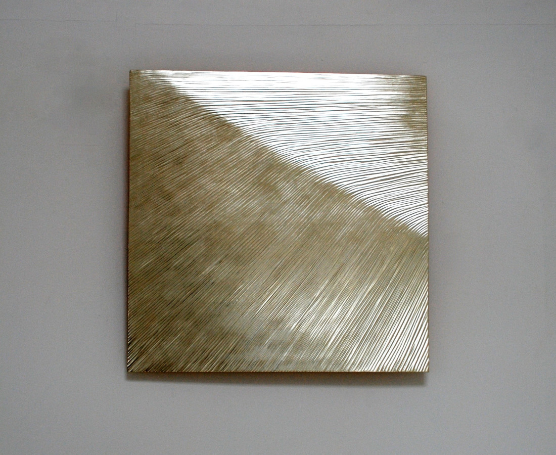 Ridge, 80 cm square , 12 ct whie gold on carved wood