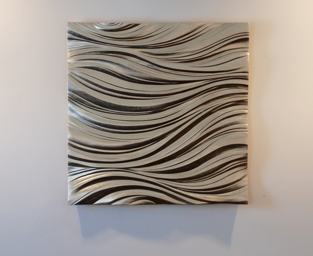 Storm 3, 12 ct white gold on carved wood 140 c square