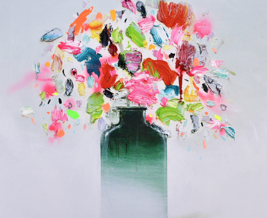 New Flowers 2018 100 x 100cm Fran Mora
