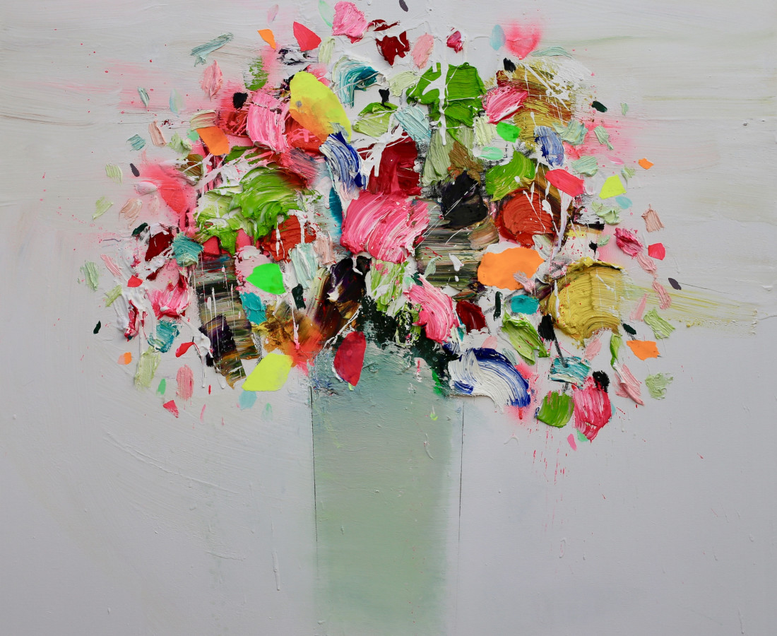 Textured Flowers 100 x 100cm Fran Mora