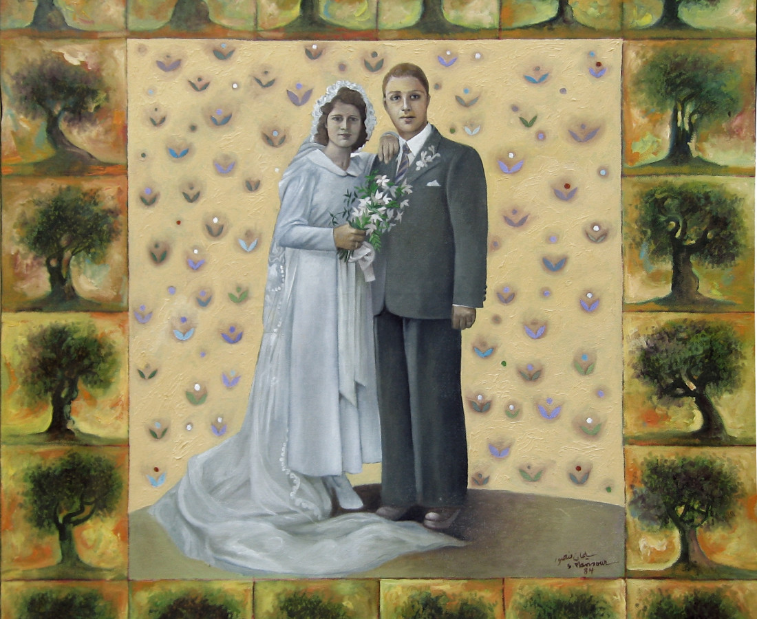 Father and Mother on their Wedding Day Oil on canvas, 92 X 85, 1984