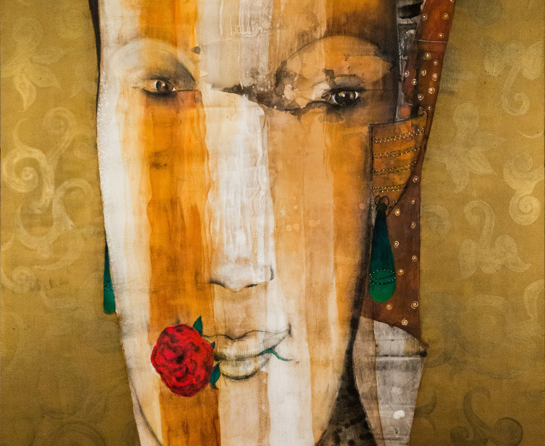 Woman in love Mixed media on canvas 227 x 162 2017