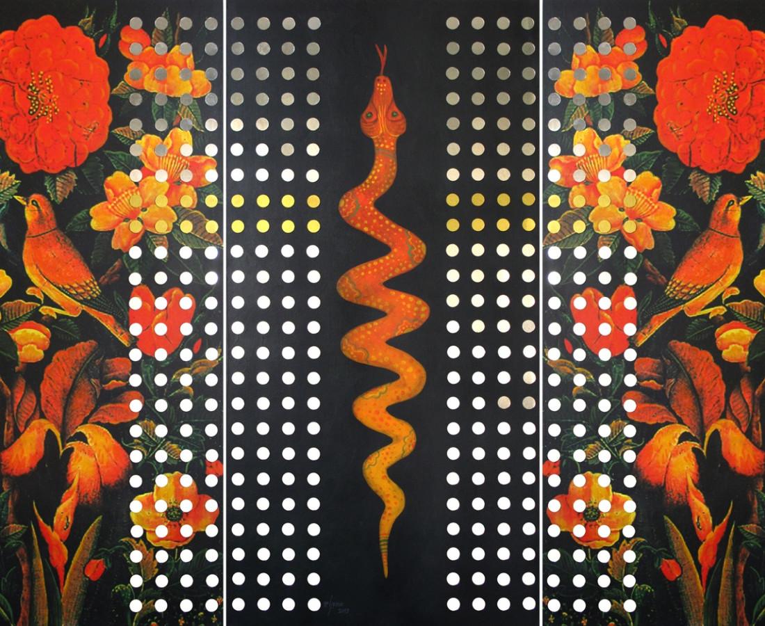 Heaven - digital print, acrylic & mirror on board- triptych, each panel 100x50 cm, overall 100x150 cm, 2013.