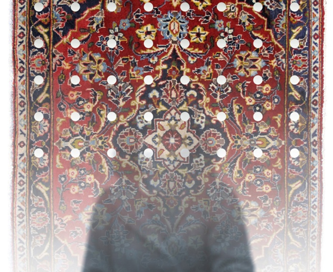 No.2 from Mirror Garden series, Stroll Inside Kashan carpet- digital print on Plexiglas, mirror& Kashan carpet, - 100x70 cm- 2013.