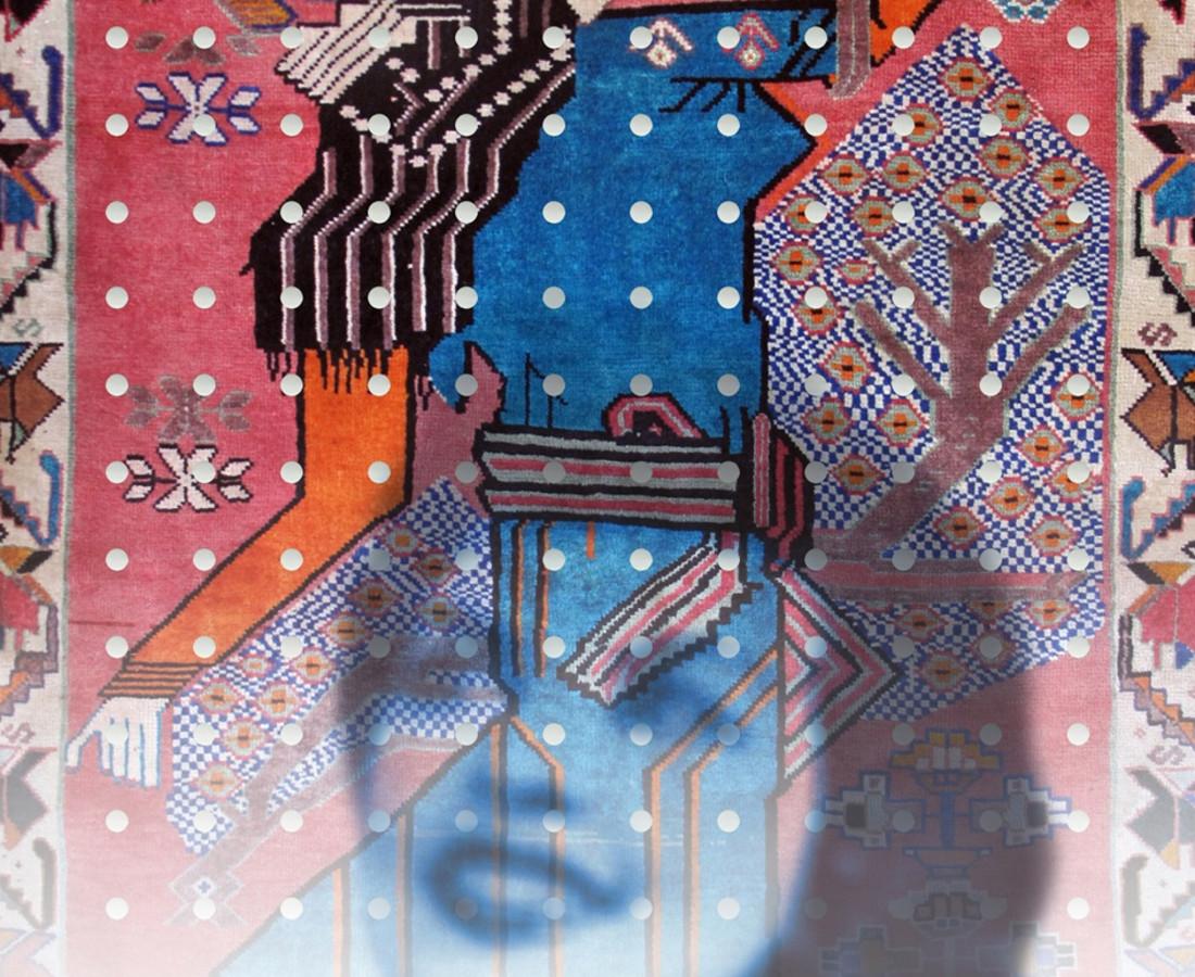No.4 from Mirror Garden series, Stroll Inside Qashqai Carpet- digital print on Plexiglas, mirror& Qashqai carpet- 150x120 cm- 2013