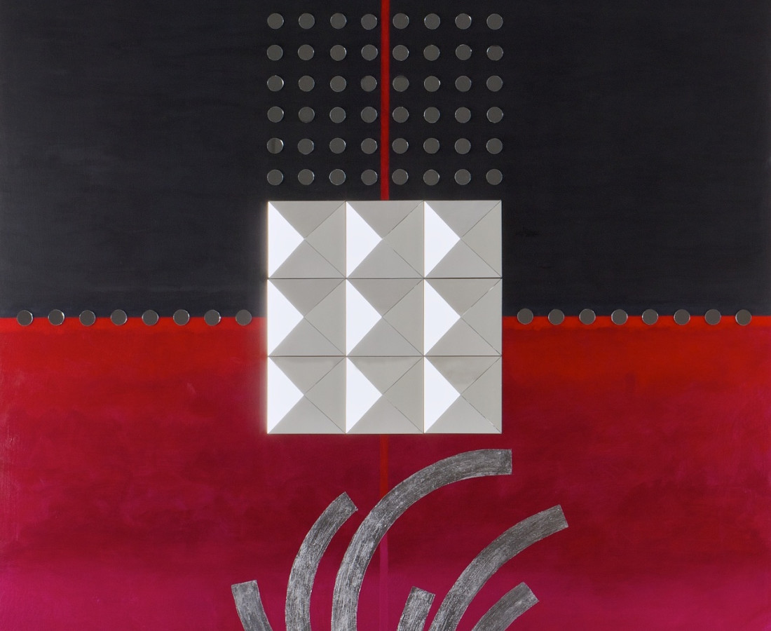 No.2 from Elusive series- acrylic, mirror & silver leaf on board- 100x100 cm- 2010