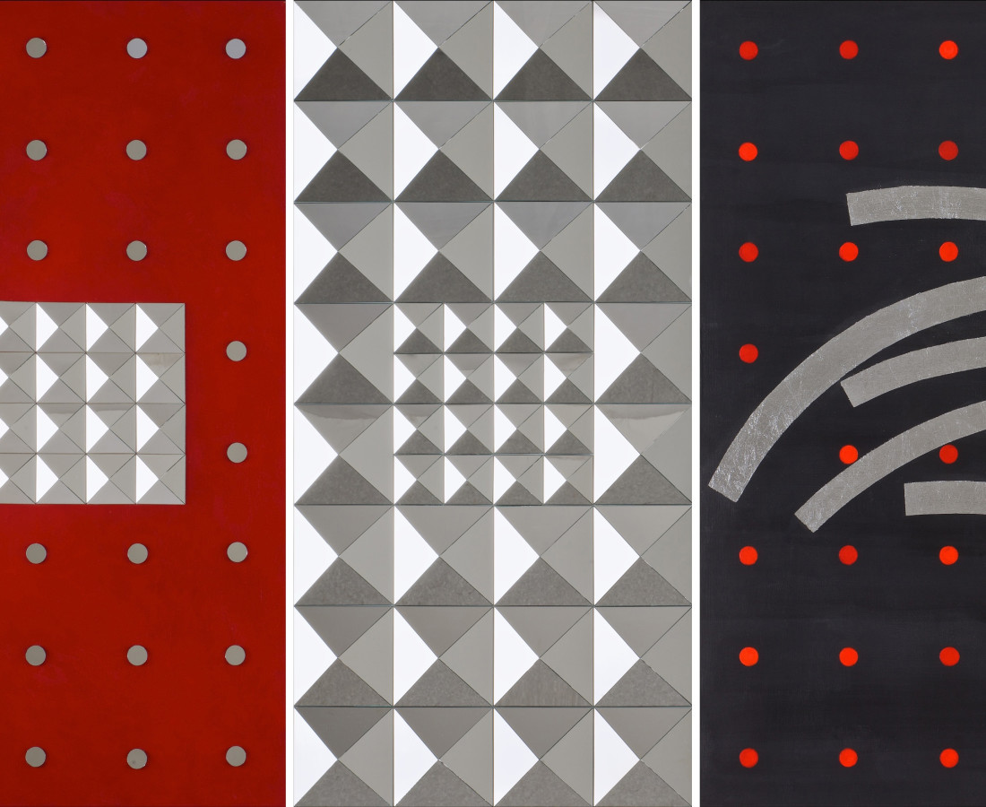 N0.4 from Elusive series- acrylic, mirror& silver leaf on board- triptych, each panel 80x40 cm, overall 80x120 cm-2010