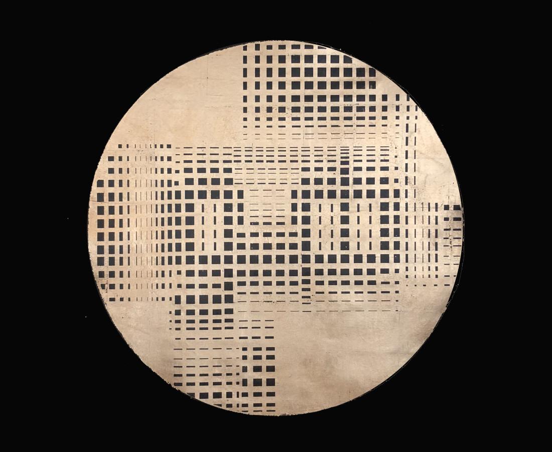 Al Nour-Gold-Circle, Mixed media on black linen, 170 x 170 cm, 2018