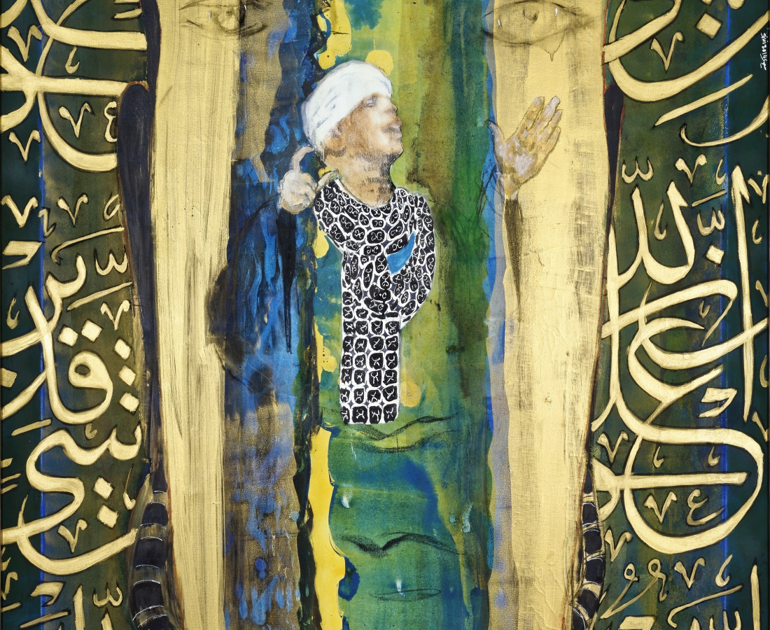 Green Sufi Singer, Mix Media on Canvas, 220 x 149 cm, 2014