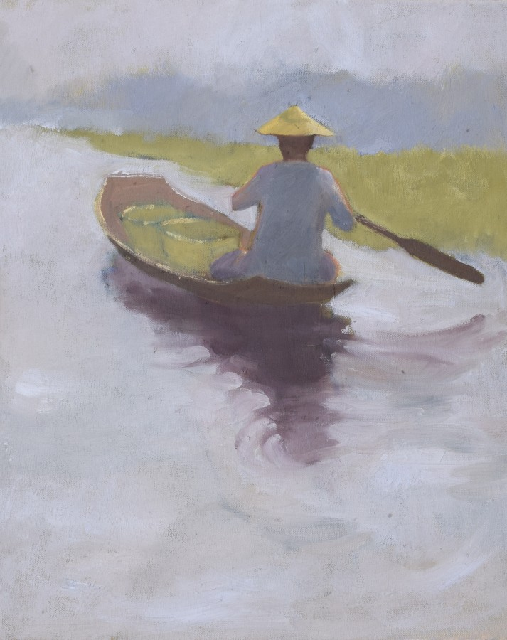 """<span class=""""artist""""><strong>Clare Granger</strong></span>, <span class=""""title""""><em>Out in the Canoe</em></span>"""