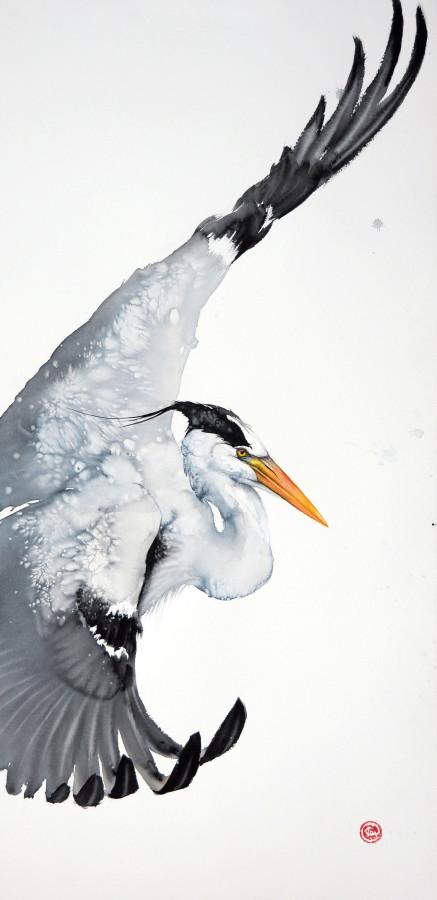 <span class=&#34;artist&#34;><strong>Karl Martens</strong></span>, <span class=&#34;title&#34;><em>Grey Heron Flying (Unframed)</em></span>