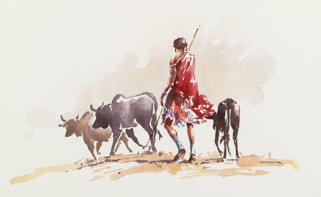 """<span class=""""artist""""><strong>Julia Cassels</strong></span>, <span class=""""title""""><em>Maasai with Cattle</em></span>"""