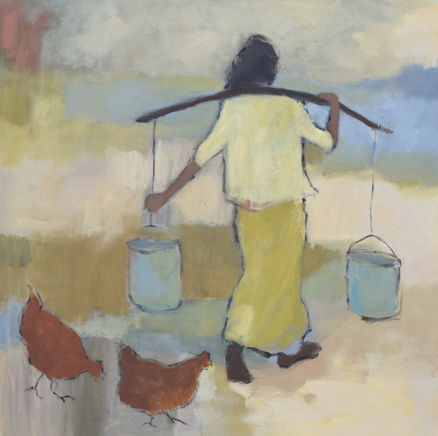 """<span class=""""artist""""><strong>Clare Granger</strong></span>, <span class=""""title""""><em>Girl with Chickens</em></span>"""