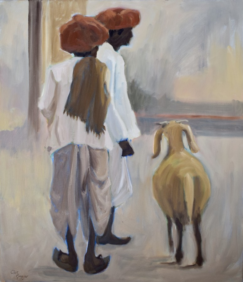 """<span class=""""artist""""><strong>Clare Granger</strong></span>, <span class=""""title""""><em>Two Men and a Goat</em></span>"""