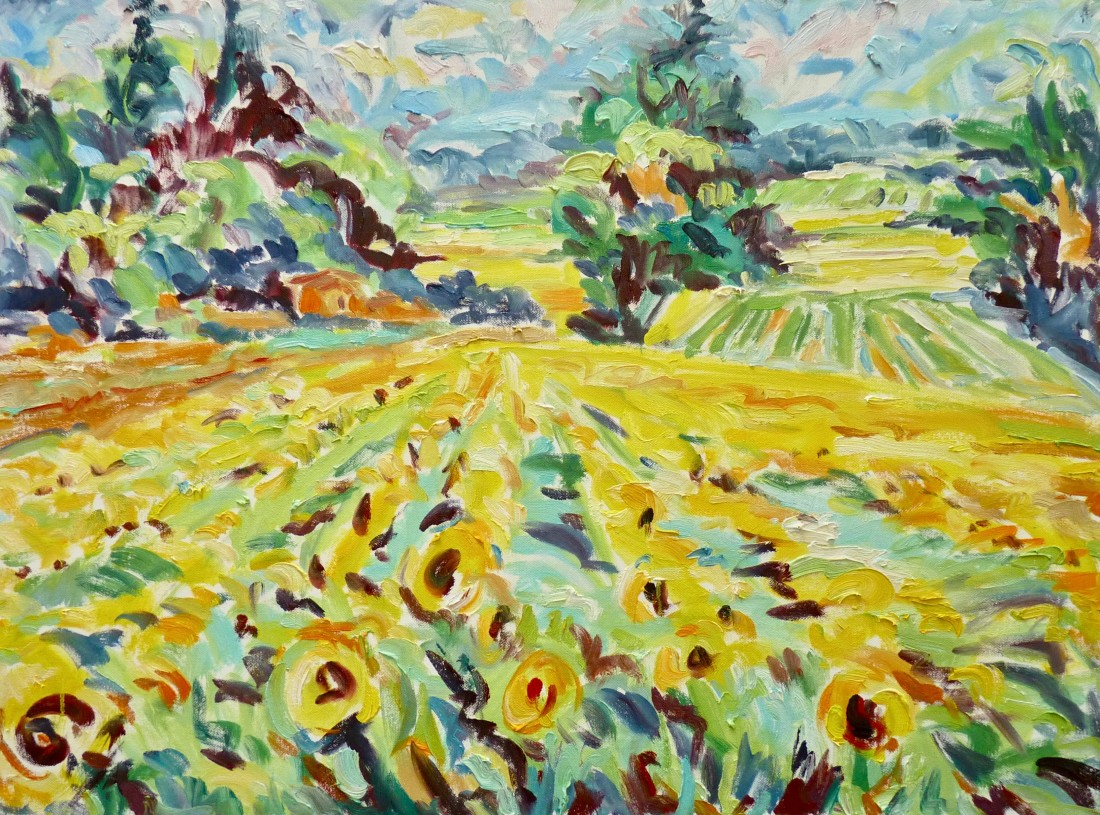 <span class=&#34;artist&#34;><strong>Fi Katzler</strong></span>, <span class=&#34;title&#34;><em>Sunflowers at Cadenet (London Gallery)</em></span>