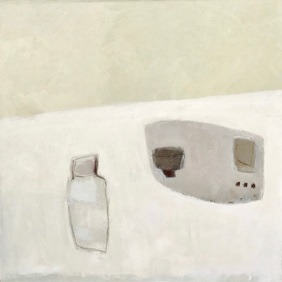 """<p><span class=""""artist""""><strong>Jenny Lock</strong></span>, <span class=""""title""""><em>Bottle and Tray on White Tablecloth</em></span></p>"""
