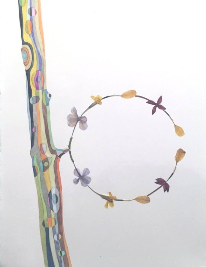 Marilla Palmer Meet in the Middle, 2015 watercolor, pressed flowers on Arches paper 12 x 9 in. framed $1,100
