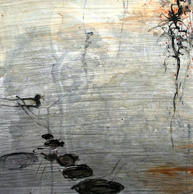 Allison Stewart Haiku Bayou #11 mixed media on panel 20 x 20 in
