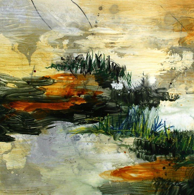 Allison Stewart Haiku Bayou #16 mixed media on panel 20 x 20 in
