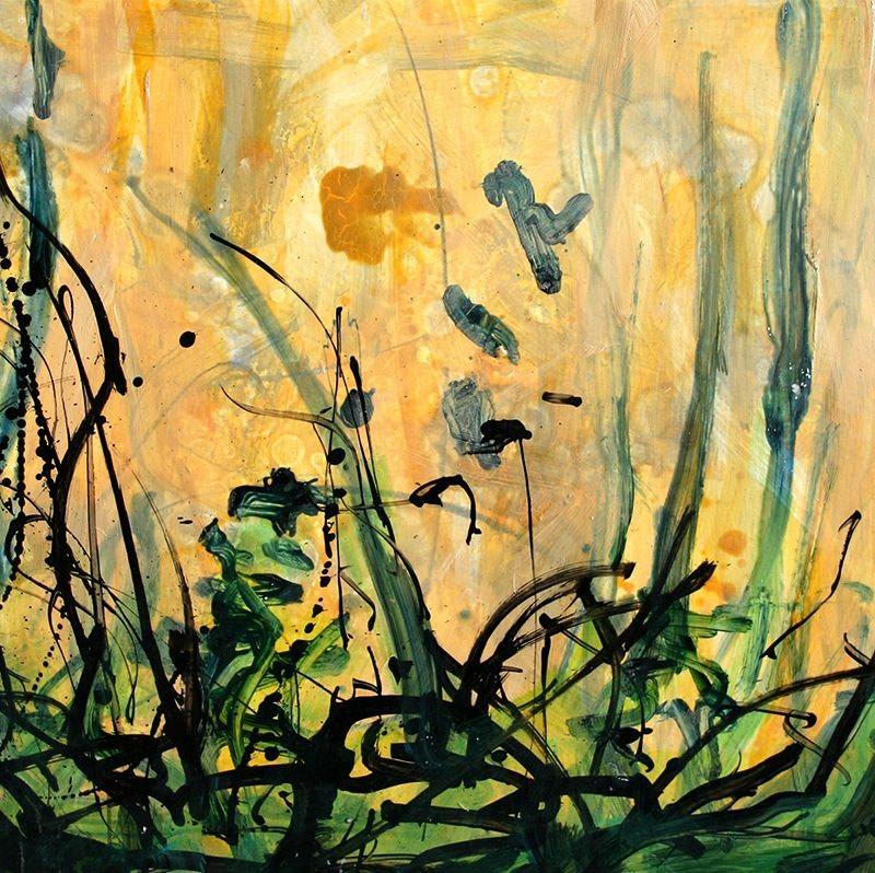 Allison Stewart Haiku Bayou #12 mixed media on panel 20 x 20 in