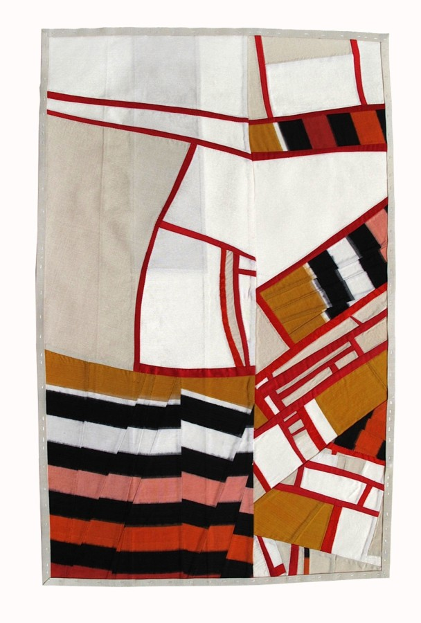 Debra Smith  Observing Presence, 2010  pieced vintage silk  21 x 13 in frame size 30 x 22 in