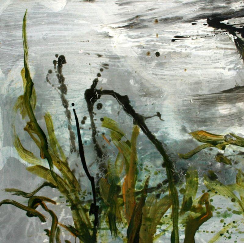 Allison Stewart Haiku Bayou #15 mixed media on panel 20 x 20 in