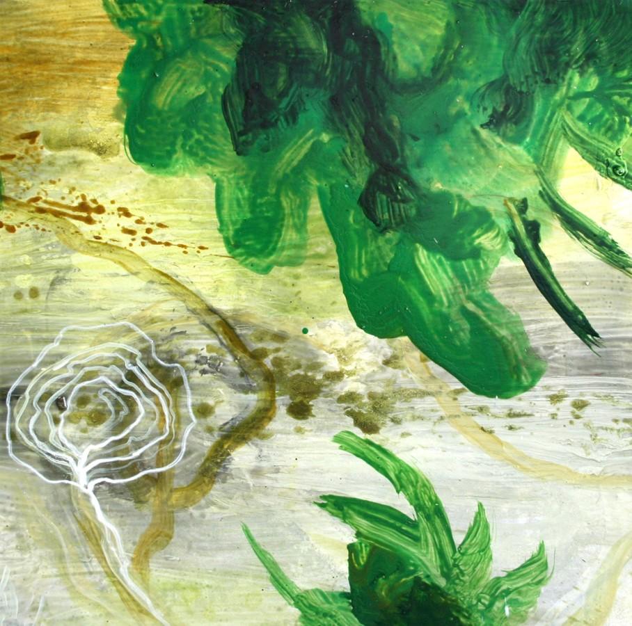 Allison Stewart Haiku Bayou #7 mixed media on panel 20 x 20 in