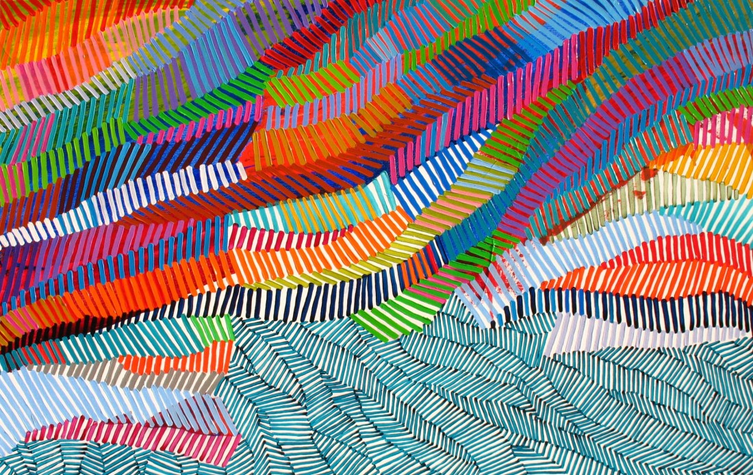 Martina Nehrling  Yarning, 2015  acrylic on canvas  40 x 63 in.