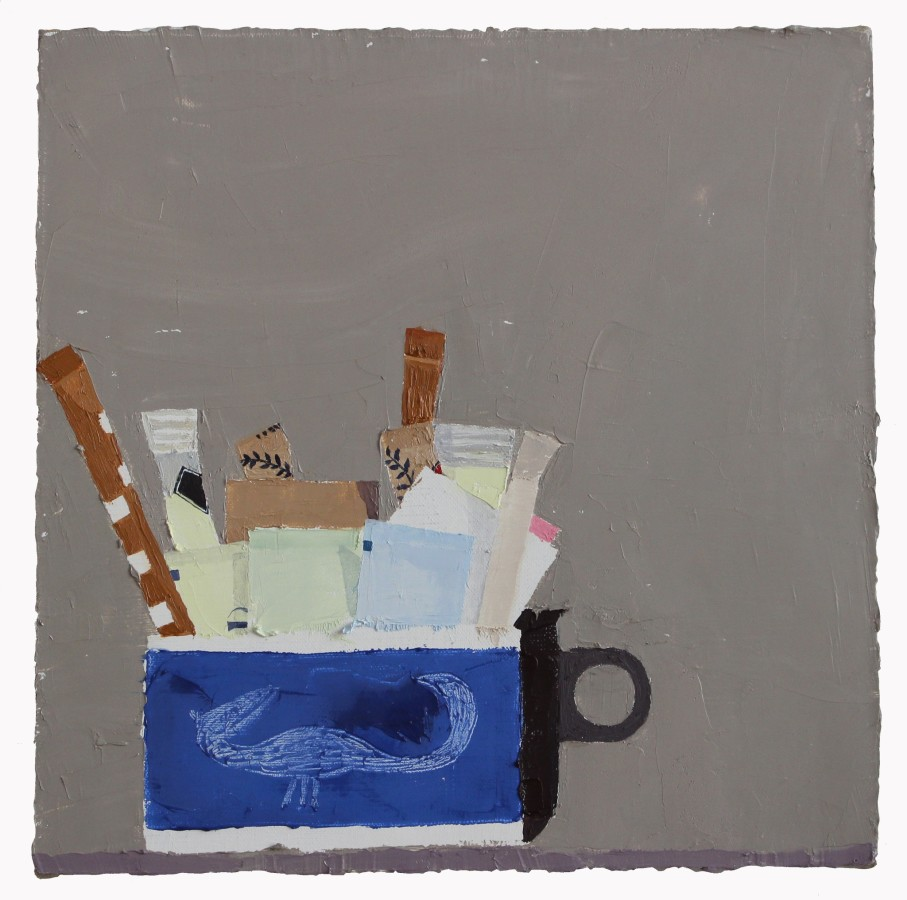 Sydney Licht Still Life with Sugar Packets and Cup #1, 2015 oil on linen 12 x 12 in.