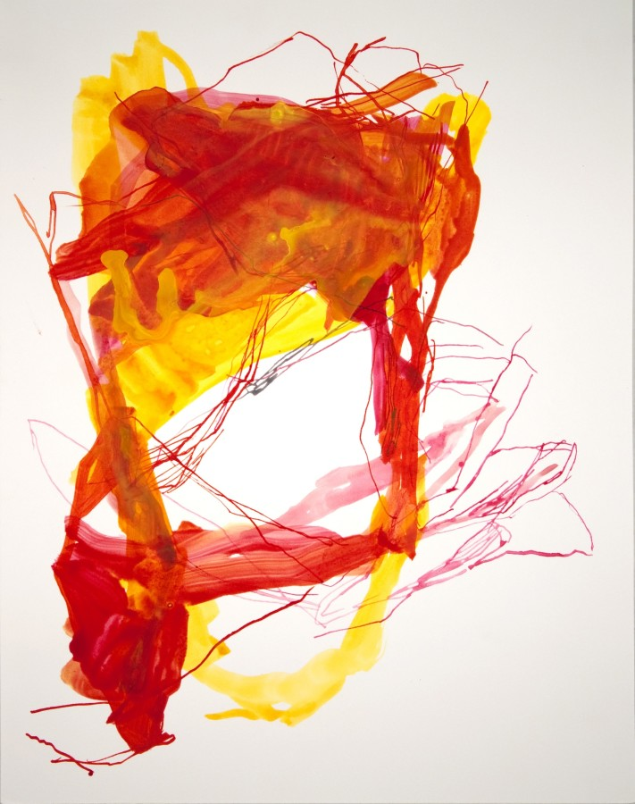 Elizabeth Gilfilen  Yellow Stumbling Block #3, 2015  ink and watercolor on paper  14 x 11 in  $1,200