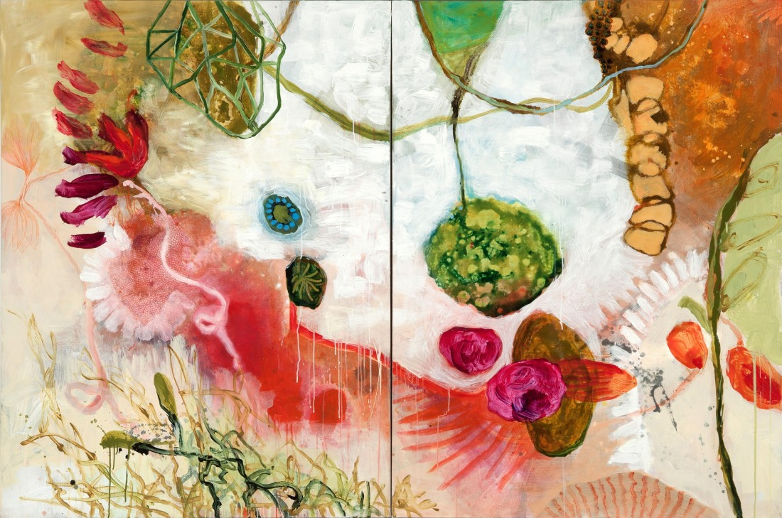 Allison Stewart Primordia mixed media on canvas 64 x 96 in