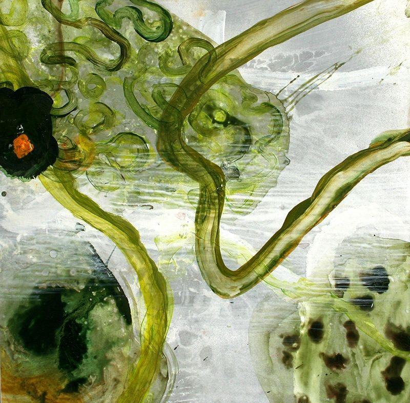 Allison Stewart Haiku Bayou #13 mixed media on panel 20 x 20 in