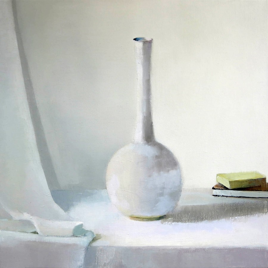 Stephanie London White Vase, 2014 oil on linen 14 x 14 in.