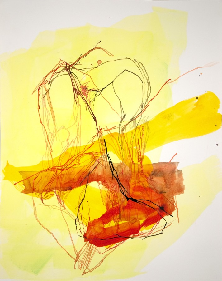 Elizabeth Gilfilen Yellow Stumbling Block #2, 2015 ink and watercolor on paper 14 x 11 in $1,200
