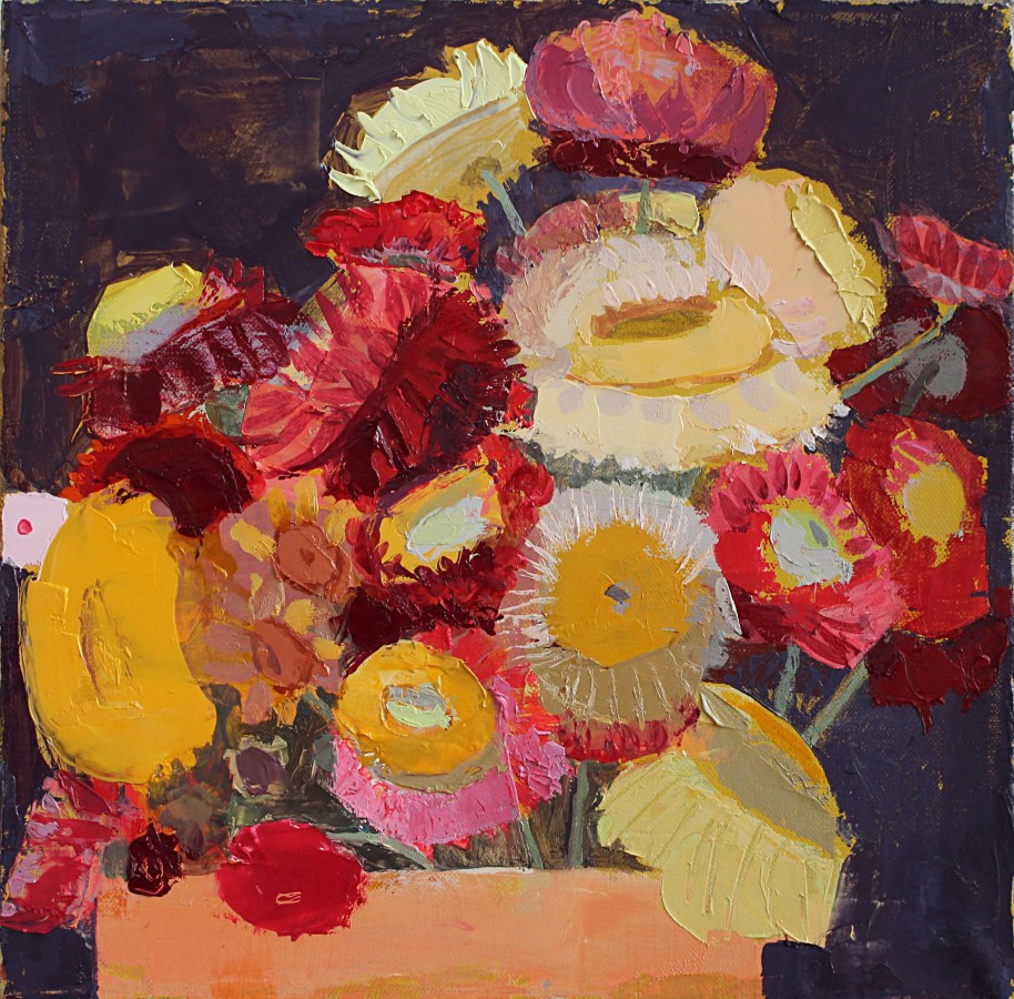 Sydney Licht Still Life with Flowers in Pot, 2015 oil on linen 10 x 10 in. $1,800
