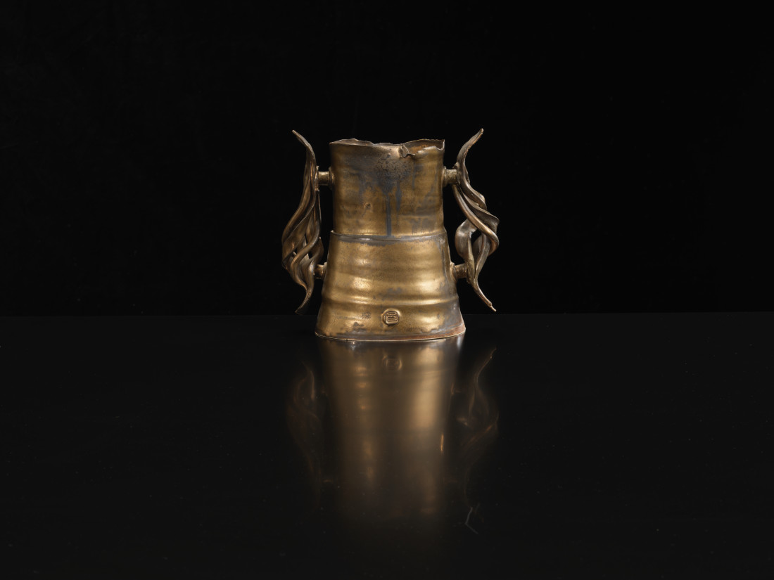 Colin Pearson, Bronze Vase with Twisted Handles, c1980s