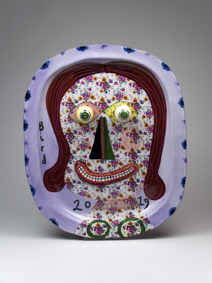 Stephen Bird, Smiling Woman with Floral Face plate, 2019