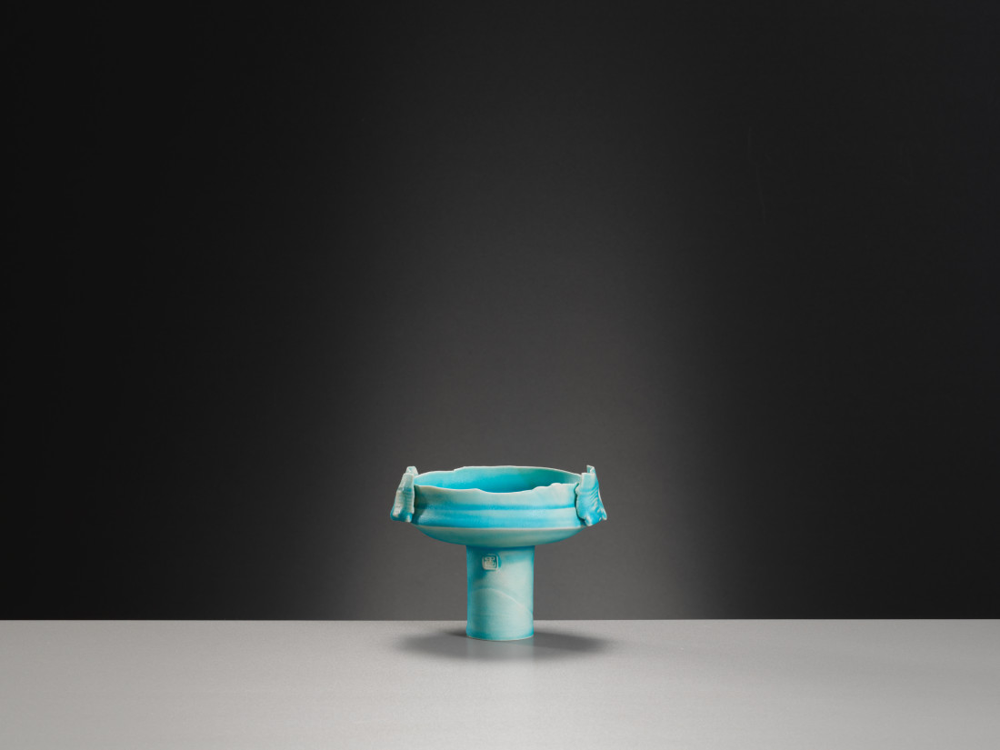Colin Pearson, Small Blue Tall Footed Bowl, c1980