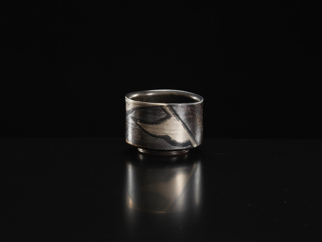 Yanagihara Mutsuo, Silver & Black - Oribe Type Tea Bowl