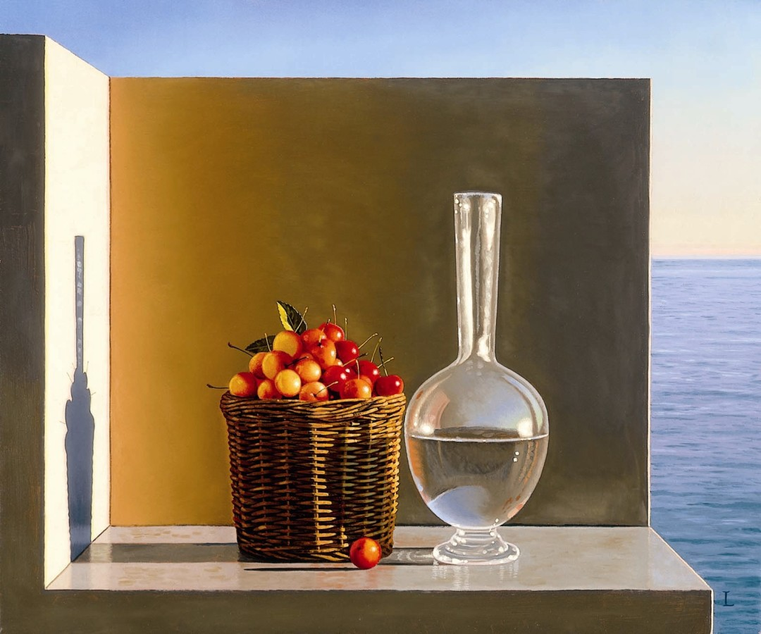 David ligare, Still Life with Cherries and Water, 2005