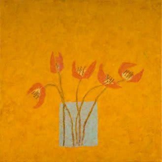 Abigail McLellan, Red Tulips on Orange, 2007