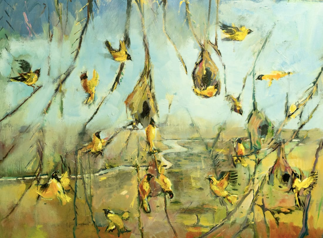 Sophie Walbeoffe, Weaver Birds and the Mara River, 2019