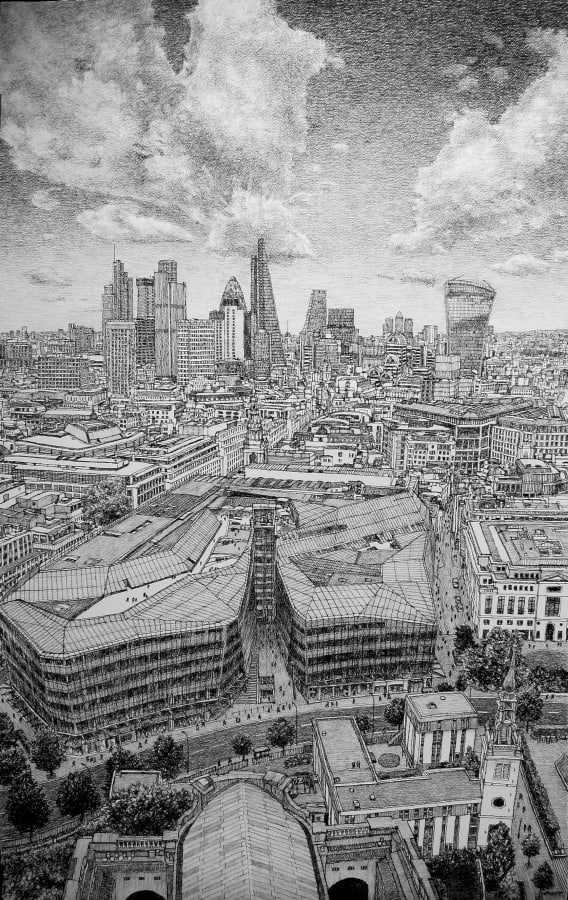 Roy Wright, London, East from St. Paul's, 2017