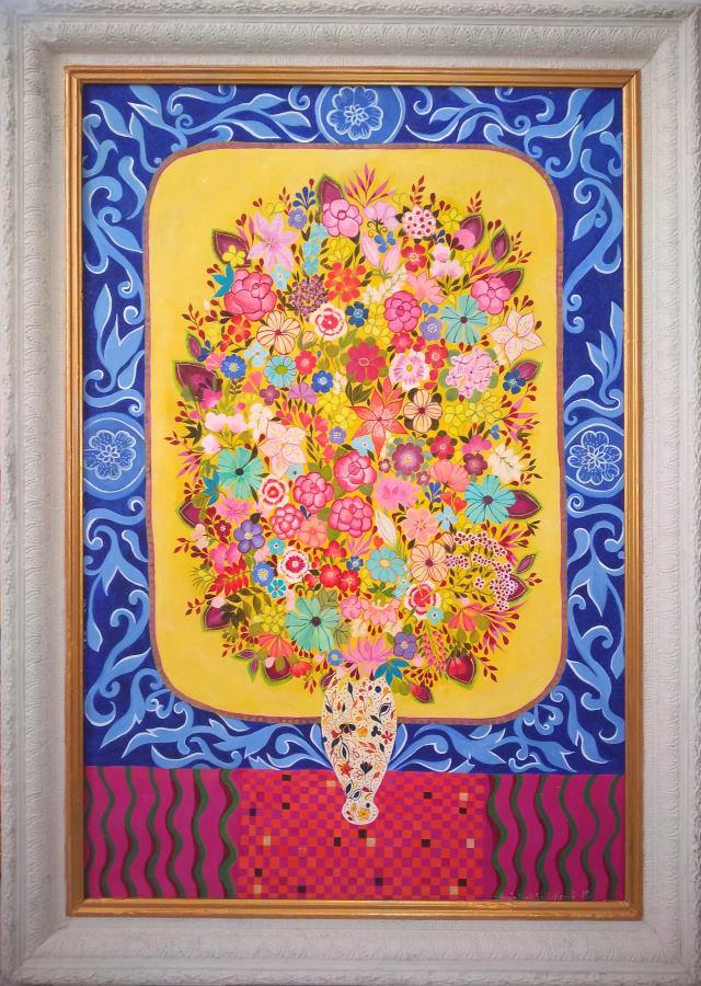 Hepzibah Swinford, Flowers in an Imari vase, 2018