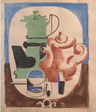 "<span class=""title"">Purist Still Life, Coffee Maker, Teapot, Glass, Pipe and Matchbox on a Pedestal Table<span class=""title_comma"">, </span></span><span class=""year"">1927</span>"