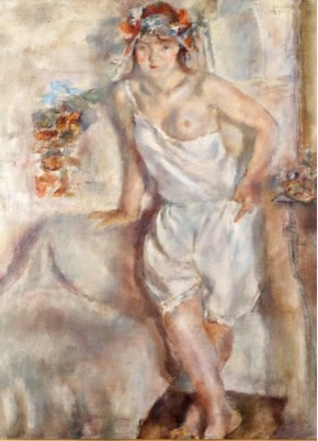 """<span class=""""title"""">Genevieve with a Garland of Flowers<span class=""""title_comma"""">, </span></span><span class=""""year"""">1929</span>"""